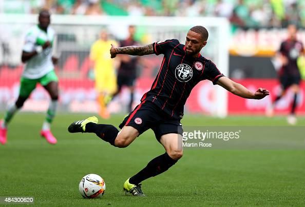 Luc Castaignos of Frankfurt runs with the ball during the Bundesliga match between VfL Wolfsburg and Eintracht Frankfurt at Volkswagen Arena on...