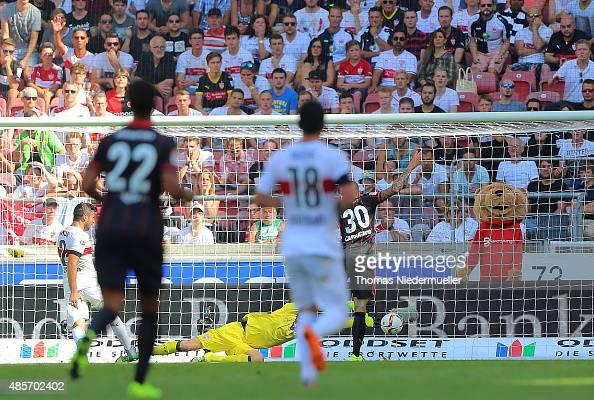 Luc Castaignos of Frankfurt scores their second goal during the Bundesliga match between VfB Stuttgart and Eintracht Frankfurt at MercedesBenz Arena...