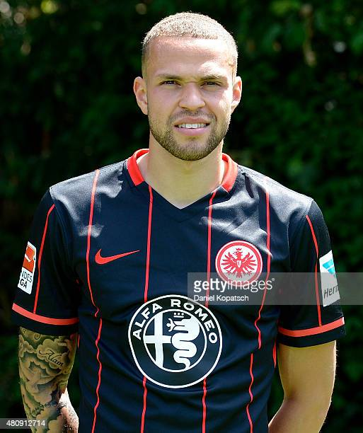 Luc Castaignos poses during the Eintracht Frankfurt team presentation on July 15 2015 in Frankfurt am Main Germany