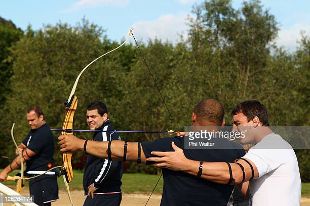 Luc Ducalcon and Louis Picamoles of the French IRB Rugby World Cup 2011 team enjoy an archery activity at Wild on Waiheke while visiting Waiheke...