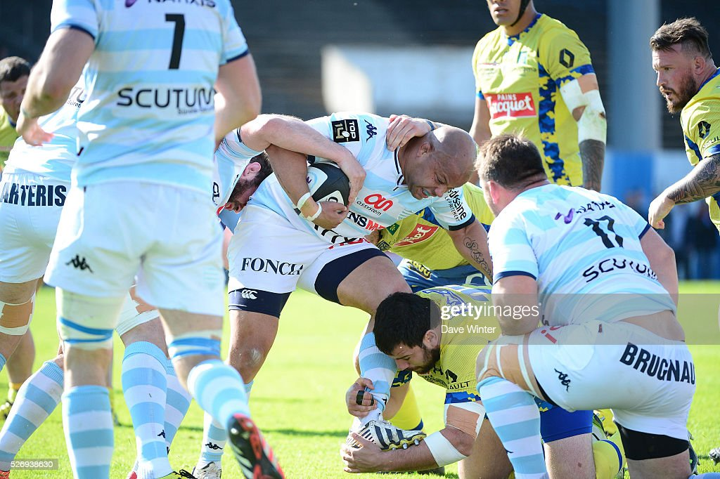 Luc Ducalcon of Racing 92 during the French Top 14 rugby union match between Racing 92 v Clermont at Stade Yves Du Manoir on May 1, 2016 in Colombes, France.