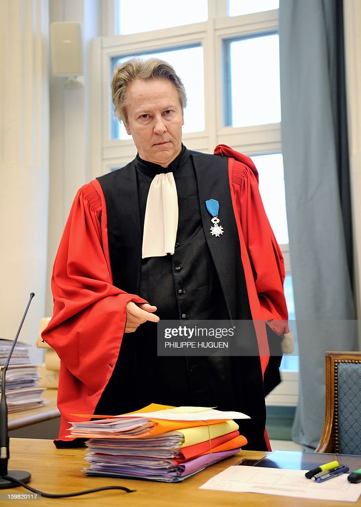 Luc Fremiot, substitute general at the appeals court, arrives to preside a hearing, at the Douai courthouse, northern France, on January 21, 2013, before the trial of the mother and stepfather of Typhaine, Anne-Sophie Faucheur and Nicolas Willot, in connection with the girl's death. The body of Typhaine was found in December 9, 2009, in a suburb of the southern Belgian city of Charleroi, and Faucheur and Willot finally recognized that she had died at their house on June 10, 2009, and that her body had been buried somewhere in Belgium.