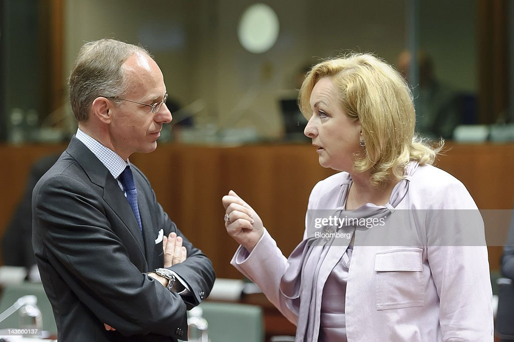 <a gi-track='captionPersonalityLinkClicked' href=/galleries/search?phrase=Luc+Frieden&family=editorial&specificpeople=651276 ng-click='$event.stopPropagation()'>Luc Frieden</a>, Luxembourg's finance minister, left, speaks with Maria Fekter, Austria's finance minister, during a meeting of European Union finance ministers at the European Council headquarters, in Brussels, Belgium, on Wednesday, May 2, 2012. European Union finance ministers, split over how to apply Basel bank capital rules, will seek a deal today on when governments can force lenders to set aside more capital than the minimum required by international accords. Photographer: Jock Fistick/Bloomberg via Getty Images