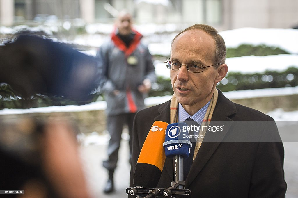 Luc Frieden, Luxembourg's finance minister, speaks to the media as he arrives for a meeting of euro area ministers in Brussels, Belgium, on Sunday, March 24, 2013. Cyprus's fate hangs in the balance as euro-area finance ministers meet today to decide whether the tiny Mediterranean island has done enough for a bailout that will avert its financial collapse. Photographer: Jock Fistick/Bloomberg via Getty Images