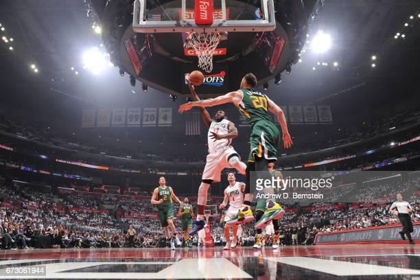 Luc Mbah a Moute of the LA Clippers shoots a lay up against the Utah Jazz in Game Five of the Western Conference Quarterfinals of the 2017 NBA...