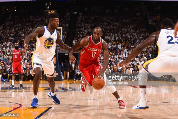 Luc Mbah a Moute of the Houston Rockets handles the ball against the Golden State Warriors on October 17 2017 at ORACLE Arena in Oakland California...