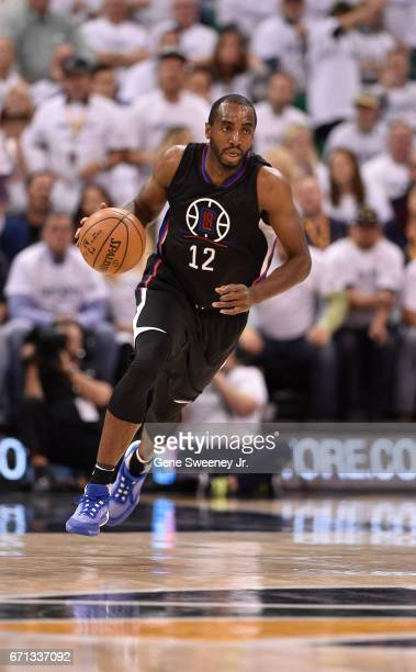 Luc Mbah a Moute of the Los Angeles Clippers brings the ball up court in the second half of their 111106 win over the Utah Jazz in Game Three of the...