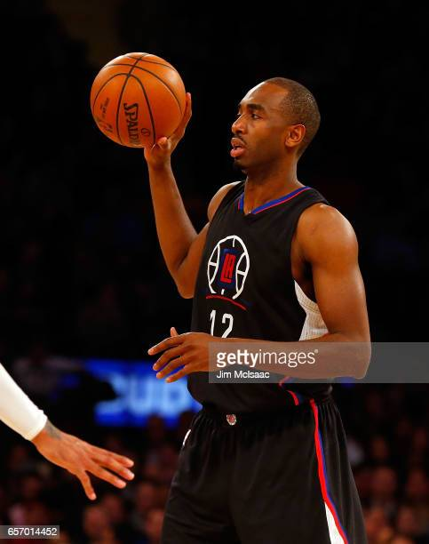 Luc Mbah a Moute of the Los Angeles Clippers in action against the New York Knicks at Madison Square Garden on February 8 2017 in New York City The...