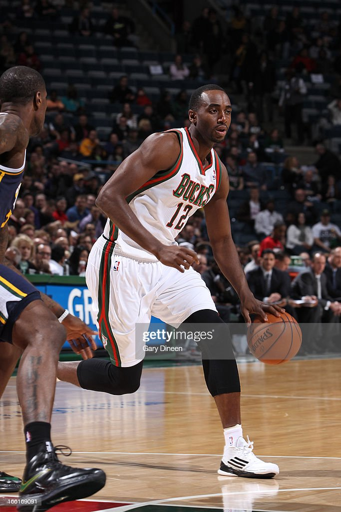 <a gi-track='captionPersonalityLinkClicked' href=/galleries/search?phrase=Luc+Richard+Mbah+a+Moute&family=editorial&specificpeople=699041 ng-click='$event.stopPropagation()'>Luc Richard Mbah a Moute</a> #12 of the Milwaukee Bucks drives to the basket against the Utah Jazz on March 4, 2013 at the BMO Harris Bradley Center in Milwaukee, Wisconsin.