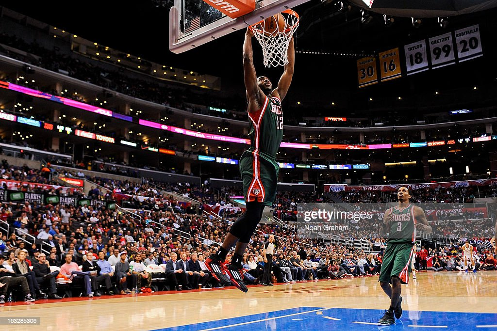 Luc Richard Mbah a Moute #12 of the Milwaukee Bucks dunks on a fast break against the Los Angeles Clippers at Staples Center on March 6, 2013 in Los Angeles, California.