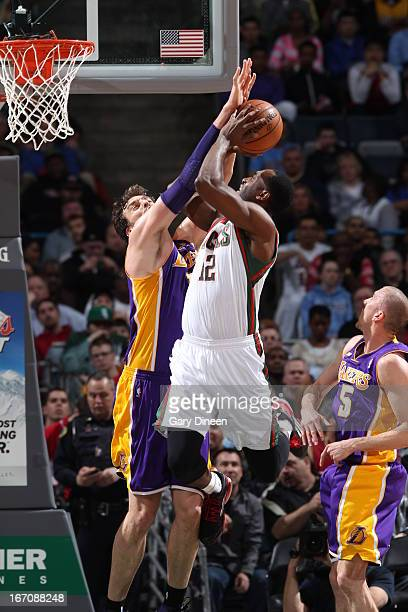 Luc Richard Mbah a Moute of the Milwaukee Bucks goes up strong against the Los Angeles Lakers on March 28 2013 at the BMO Harris Bradley Center in...
