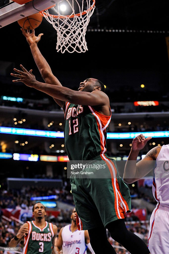 Luc Richard Mbah a Moute #12 of the Milwaukee Bucks shoots a layup against the Los Angeles Clippers at Staples Center on March 6, 2013 in Los Angeles, California.