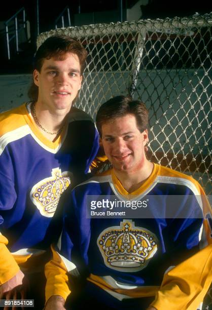 Luc Robitaille and Jimmy Carson of the Los Angeles Kings pose for a portrait circa March 1988