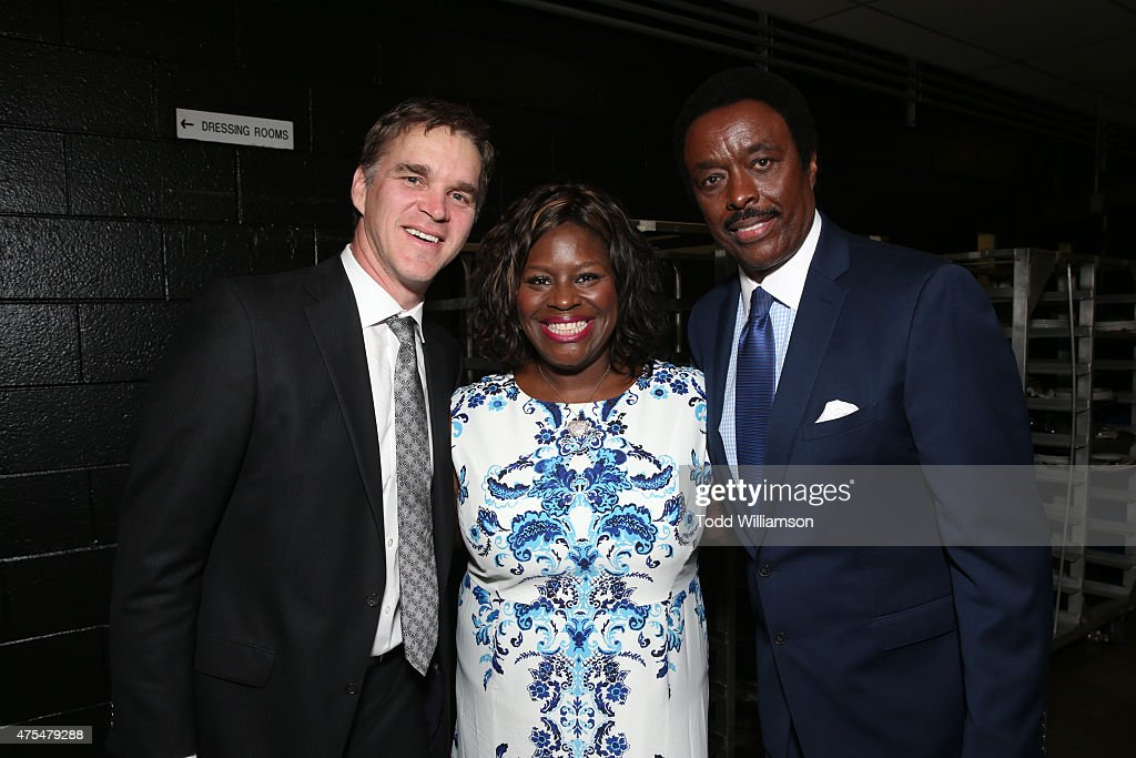 Luc Robitaille Retta and Jim Hill attend the 2015 CedarsSinai Sports Spectacular at the Hyatt Regency Century Plaza on May 31 2015 in Century City...