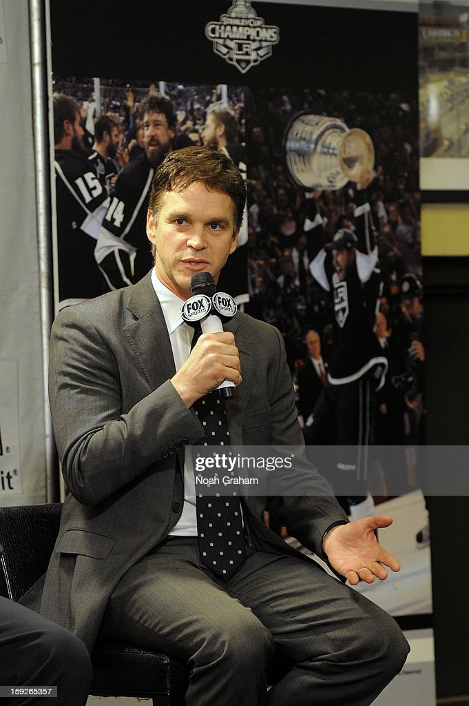 Luc Robitaille speaks as the Los Angeles Kings kick-off the club's 2012-13 Regular Season with a press conference featuring Kings Governor Tim Leiweke, President/General Manager Dean Lombardi , President, Business Operations Luc Robitaille and Head Coach Darryl Sutter at Staples Center on January 10, 2013 in Los Angeles, California.