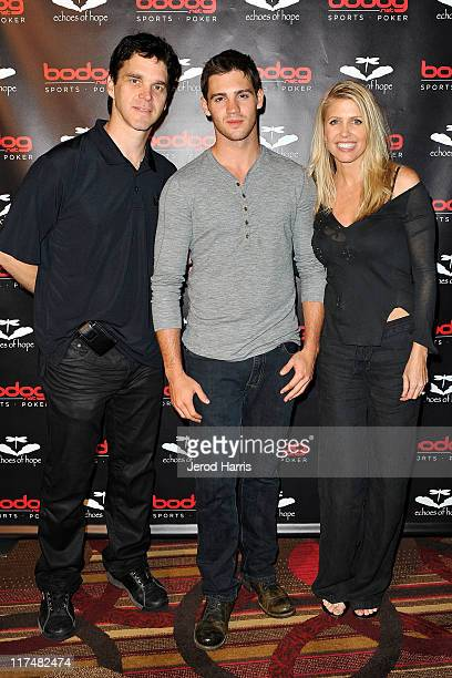 Luc Robitaille Steve R McQueen and Stacia Robitaille arrive at the Luc Robitaille Celebrity Poker Tournament All In With Tim at JW Marriott Los...