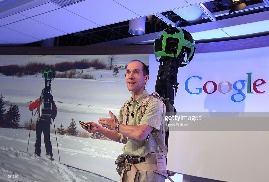 Luc Vincent, Google Engineering Director for Street View, demonstrates a backpack camera called Trekker during a news conference about Google Maps on June 6, 2012 in San Francisco, California. Google announced new upgrades to Google maps including a feature to download maps and view offline, better 3D mapping and a backpack camera backpack camera device called Trekker that will allow Street View to go offroad on hiking trails and places only accessible by foot.