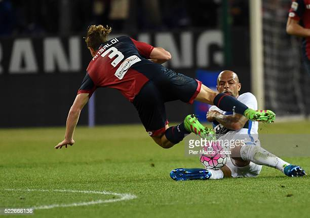 Luca Ansaldi of CFC Genoa competes for the ball with Felipe Melo of FC Internazionale during the Serie A match between Genoa CFC and FC...