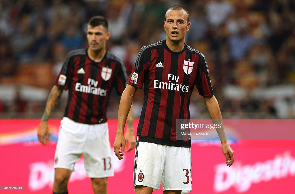 <a gi-track='captionPersonalityLinkClicked' href=/galleries/search?phrase=Luca+Antonelli&family=editorial&specificpeople=5358809 ng-click='$event.stopPropagation()'>Luca Antonelli</a> of AC Milan looks on during the Serie A match between AC Milan and Empoli FC at Stadio Giuseppe Meazza on August 29, 2015 in Milan, Italy.