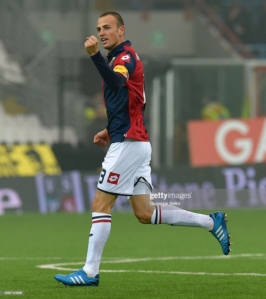 <a gi-track='captionPersonalityLinkClicked' href=/galleries/search?phrase=Luca+Antonelli&family=editorial&specificpeople=5358809 ng-click='$event.stopPropagation()'>Luca Antonelli</a> of Genoa celebrates after scoring the goal 0-2 during the Serie A match between AC Cesena and Genoa CFC at Dino Manuzzi Stadium on November 30, 2014 in Cesena, Italy.