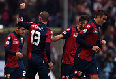 Luca Antonelli of Genoa celebrates after scoring the opening goal during the Serie A match between Genoa CFC and AC Milan at Stadio Luigi Ferraris on...