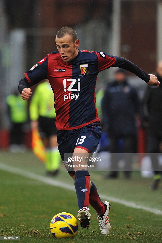 Luca Antonelli of Genoa CFC in action during the Serie A match between Genoa CFC and Calcio Catania at Stadio Luigi Ferraris on January 20, 2013 in Genoa, Italy.