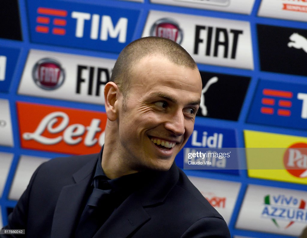 <a gi-track='captionPersonalityLinkClicked' href=/galleries/search?phrase=Luca+Antonelli&family=editorial&specificpeople=5358809 ng-click='$event.stopPropagation()'>Luca Antonelli</a> of Italy speaks to the media at the end of the international friendly match between Italy and Spain at Stadio Friuli on March 24, 2016 in Udine, Italy.
