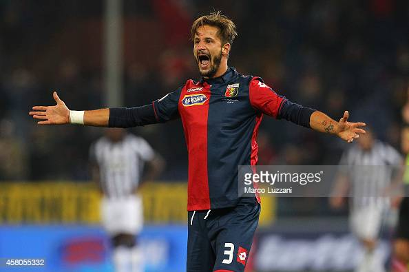 Luca Antonini of Genoa CFC celebrates after scoring the opening goal during the Serie A match between Genoa CFC and Juventus FC at Stadio Luigi...