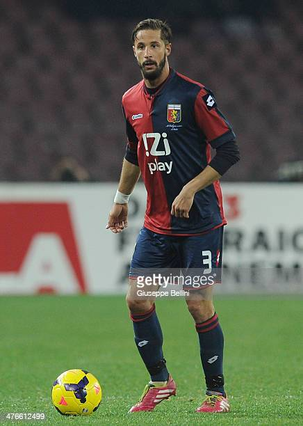 Luca Antonini of Genoa in action during the Serie A match between SSC Napoli and Genoa CFC at Stadio San Paolo on February 24 2014 in Naples Italy