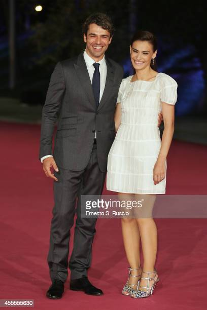 Luca Argantero and Saadet Aksoy attend the 'Ragion Di Stato' pink carpet at Auditorium Parco Della Musica as a part of Roma Fiction Fest 2014 on...