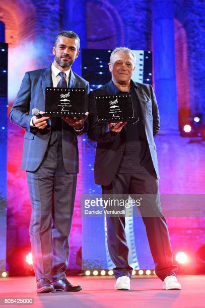 Luca Argentero and Claudio Amendola attend Nastri D'Argento 2017 Awards Ceremony on July 1 2017 in Taormina Italy