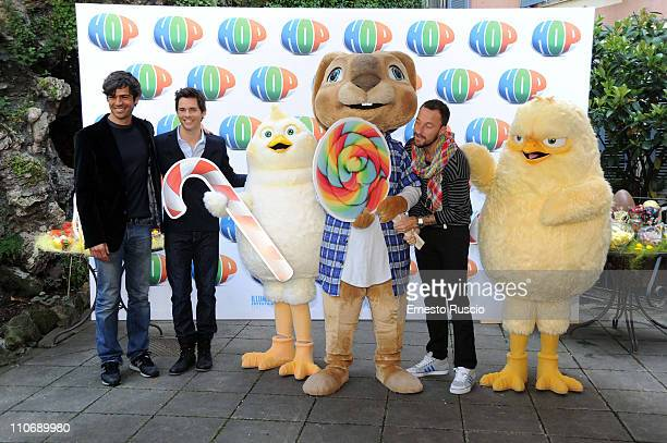 Luca Argentero James Marsden and Francesco Facchinetti attend the 'Hop' photocall at Hotel de Roussie on March 23 2011 in Rome Italy