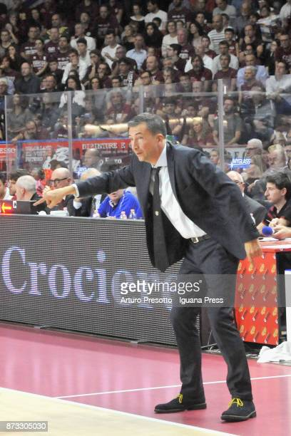 Luca Banchi head coach of Fiat talks over during the LBA LegaBasket of Serie A match between Reyer Umana Venezia and Auxilium Fiat Torino at...