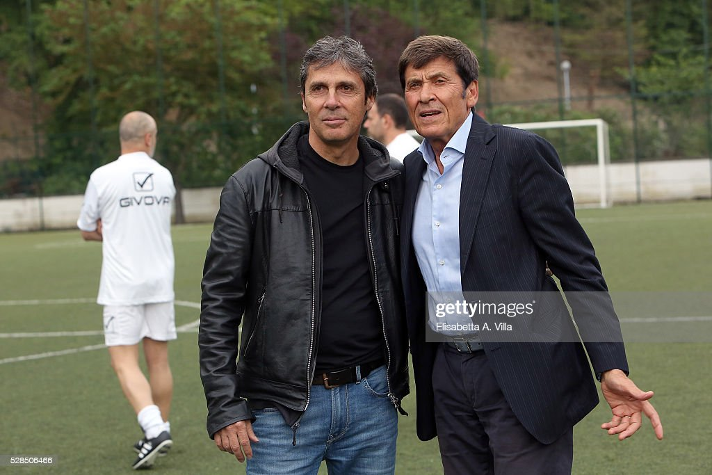 Luca Barbarossa and Gianni Morandi attend 'Partita Del Cuore' trainings at Due Ponti Sporting Club on May 5, 2016 in Rome, Italy.