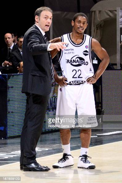 Luca Bechi head coach and Casper Ware of Granarolo talks during the LegaBasket Serie A match between Granarolo Bologna and Emporio Armani EA7 Milano...