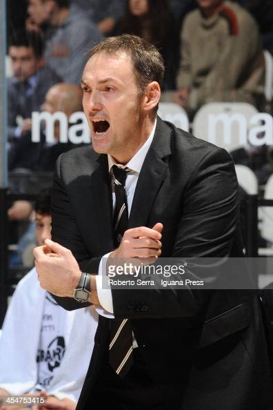 Luca Bechi head coach of Granarolo talks over during the LegaBasket Serie A1 match between Granarolo Bologna and Enel Brindisi at Unipol Arena on...