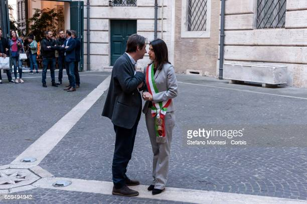 Luca Bergamo Deputy Mayor of Rome with Virginia Raggi mayor of Rome during the inauguration the new Museum of Rome at Palazzo Braschi Piazza Navona...