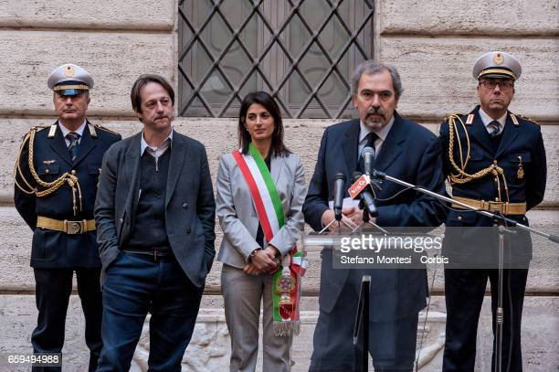 Luca Bergamo Deputy Mayor of Rome with Virginia Raggi mayor of Rome and Claudio Parisi Presicce Superintendent Capitoline Cultural Heritage during...