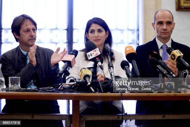 Luca Bergamo The Mayor of Rome Virginia Raggi and Daniele Frongia during '#RomaRinasce One Year of Results and Future Goals' Press Conference on June...