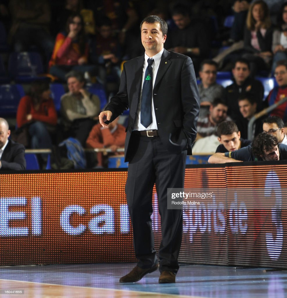 Luca Bianchi, Head Coach of Montepaschi Siena in action during the 2012-2013 Turkish Airlines Euroleague Top 16 Date 6 between FC Barcelona Regal v Montepaschi Siena at Palau Blaugrana on January 31, 2013 in Barcelona, Spain.