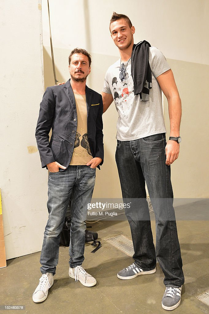 Luca Bizzarri, Paolo Gerani and <a gi-track='captionPersonalityLinkClicked' href=/galleries/search?phrase=Danilo+Gallinari&family=editorial&specificpeople=4644476 ng-click='$event.stopPropagation()'>Danilo Gallinari</a> backstage ahead of the Iceberg Spring/Summer 2013 fashion show as part of Milan Womenswear Fashion Week on September 21, 2012 in Milan, Italy.