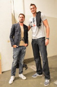 Luca Bizzarri Paolo Gerani and Danilo Gallinari backstage ahead of the Iceberg Spring/Summer 2013 fashion show as part of Milan Womenswear Fashion...