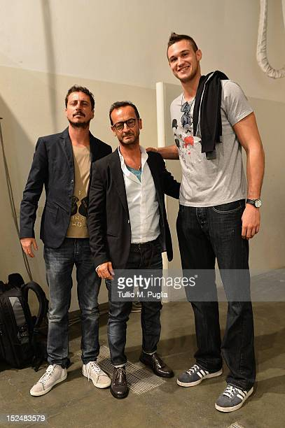 Luca Bizzarri Paolo Gerani and Danilo Gallinari backstage ahead of the Iceberg Spring/Summer 2013 fashion show as part of Milan Womenswear Fashion...