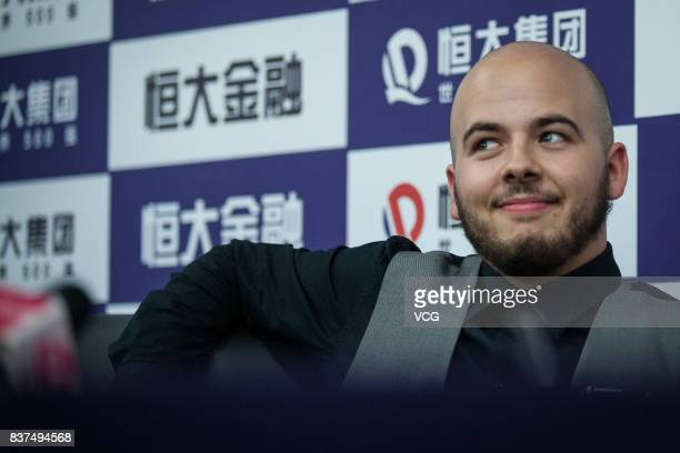 Luca Brecel of Belgium attends a press conference after the final match against Shaun Murphy of England on day seven of Evergrande 2017 World Snooker...