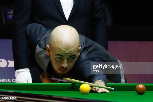 Luca Brecel of Belgium plays a shot during his semifinal match against Li Hang of China on day six of Evergrande 2017 World Snooker China Champion at...