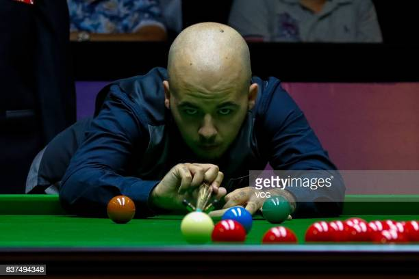 Luca Brecel of Belgium plays a shot during the final match against Shaun Murphy of England on day seven of Evergrande 2017 World Snooker China...