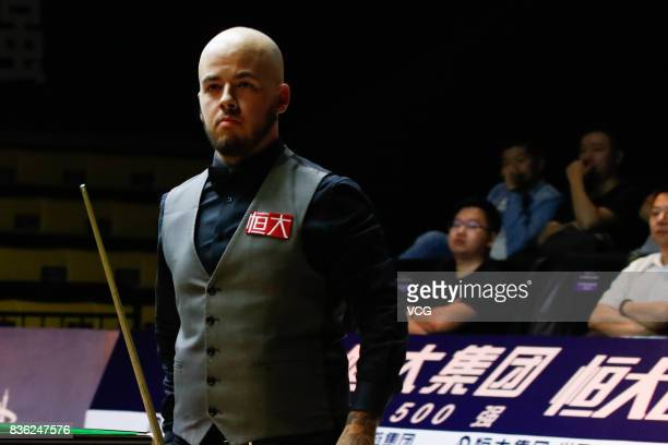 Luca Brecel of Belgium reacts during his semifinal match against Li Hang of China on day six of Evergrande 2017 World Snooker China Champion at...