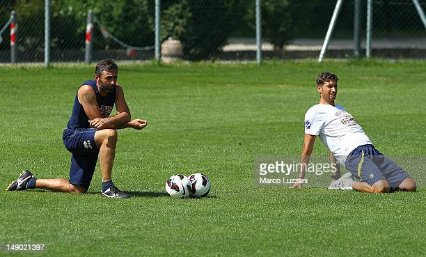 Luca Bucci and Antonio Mirante of FC Parma during day nine of the FC Parma preseason training camp on July 22 2012 in Levico Terme near Trento Italy