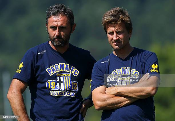 Luca Bucci and Giovanni Andreini of FC Parma look on during day fourteen of the FC Parma preseason training camp on July 27 2012 in Levico Terme near...