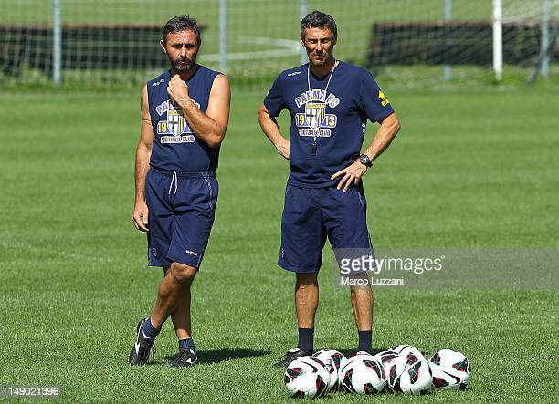 Luca Bucci and Luca Gotti of FC Parma look on during day nine of the FC Parma preseason training camp on July 22 2012 in Levico Terme near Trento...